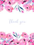 Watercolor pink poppies and floral branches card template, hand drawn on a white background. Thank you card design and other greeting cards Royalty Free Stock Photo