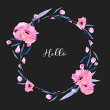 Watercolor pink poppies and floral branches circle frame border, hand drawn on a dark background. For festive greeting cards Stock Photography