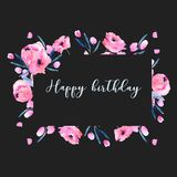 Watercolor pink poppies and floral branches frame border, hand drawn on a dark background. Birthday and other greeting cards Stock Photography