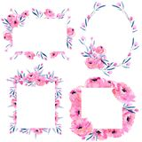 Watercolor pink poppies and floral branches frame borders collection on a white background. Watercolor pink poppies and floral branches frame borders collection Royalty Free Stock Image