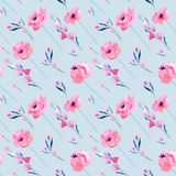 Watercolor pink poppies and floral branches seamless pattern. Hand drawn on a blue background Stock Photo
