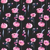 Watercolor pink poppies and floral branches seamless pattern. Hand drawn on a dark background Royalty Free Stock Photos