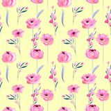 Watercolor pink poppies and floral branches seamless pattern. Hand drawn on a yellow background Stock Photography