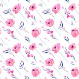 Watercolor pink poppies and floral branches seamless pattern. Hand drawn on a white background Royalty Free Stock Image