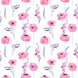 Watercolor pink poppies and floral branches seamless pattern. Hand drawn on a white background Royalty Free Stock Photo