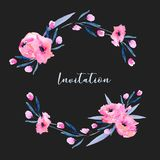 Watercolor pink poppies and small wildflowers wreath, hand drawn isolated on a dark background. Mother`s day, birthday, wedding and other greeting cards Royalty Free Stock Photo