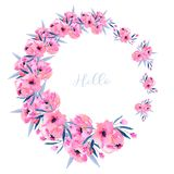 Watercolor pink poppies wreath, hand drawn isolated on a white background. Mother`s day, birthday, wedding and other greeting cards Royalty Free Stock Photo