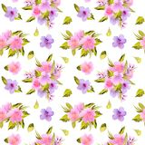 Watercolor pink, purple flowers and green leaves bouquets seamless pattern Royalty Free Stock Photos