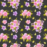 Watercolor pink, purple flowers and green leaves bouquets seamless pattern Royalty Free Stock Photography