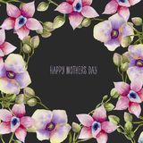 Watercolor pink and purple orchids card template, hand painted on a dark background. Mother`s day card design Stock Images