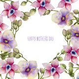 Watercolor pink and purple orchids card template, hand painted on a white background. Mother`s day card design Stock Photography
