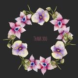 Watercolor pink and purple orchids wreath, hand painted on a dark background. Thank you card design Royalty Free Stock Image