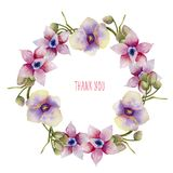 Watercolor pink and purple orchids wreath, hand painted on a white background. Thank you card design Stock Photography