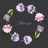 Watercolor pink and purple peonies and asters wreath, greeting card template. Hand painted on a dark background, Thank you card design Royalty Free Stock Photo