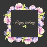 Watercolor pink and purple peonies frame, hand painted on a dark background. Happy Birthday card design Stock Image