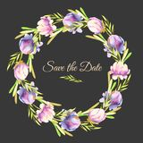 Watercolor pink and purple peonies and green branches wreath, greeting card template. Hand painted on a dark background, Save the Date card design Stock Photography