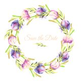 Watercolor pink and purple peonies and green branches wreath, greeting card template. Hand painted on a white background, Save the Date card design Stock Photo