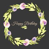 Watercolor pink and purple roses and green branches wreath, greeting card template. Hand painted on a dark background, Happy Birthday card design Royalty Free Stock Photography