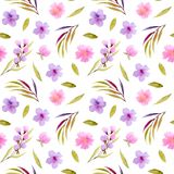 Watercolor pink, purple wildflowers and green leaves seamless pattern Stock Image