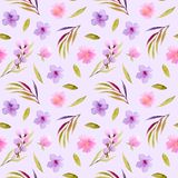Watercolor pink, purple wildflowers and green leaves seamless pattern Royalty Free Stock Photography
