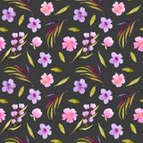 Watercolor pink, purple wildflowers and green leaves seamless pattern Stock Photo