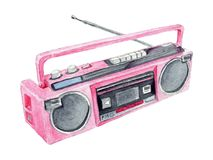 Watercolor Pink Retro Boombox. Iillustration. Watercolor hand drawn vibrant retro boombox playing music from 1980`s Royalty Free Stock Photography
