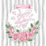 Watercolor pink roses bouquet,headline,strips.Mother day card. Mother day Card.Watercolor pink roses bouquet,catchword, headline,grunge grey strips pattern Royalty Free Stock Images