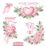 Watercolor pink roses bouquet,headlines.Mother day Royalty Free Stock Photo