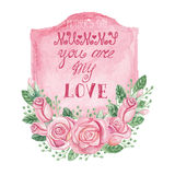 Watercolor pink roses bouquet,label,headline Royalty Free Stock Images