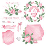Watercolor pink roses bouquet ,ribbons,decor set Royalty Free Stock Image