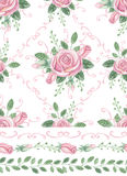 Watercolor pink roses bouquet seamles pattern,borders,swirls Royalty Free Stock Photography