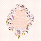 Watercolor pink Roses Flowers frame on retro polka dots background Stock Photo