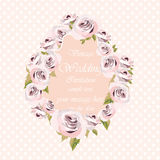 Watercolor pink Roses Flowers frame on retro polka dots background Stock Image