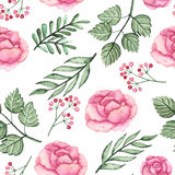 Watercolor Pink Roses And Green Leaves Seamless Pattern Stock Image