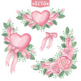 Watercolor pink roses group.Cute vintage flowers Royalty Free Stock Photos