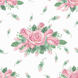 Watercolor pink roses group seamless pattern.Buds Royalty Free Stock Photography