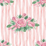 Watercolor pink roses group seamless pattern Stock Image