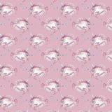 Watercolor seamless pattern with pink unicorn fish. Hand-drawn illustration stock illustration