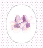 Watercolor pink shoes with bow for a little girl. Hand-painted baby shower card.  vector illustration