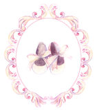 Watercolor pink shoes in ornate frame for a little girl. Hand-pa Royalty Free Stock Photo