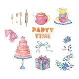 Watercolor pink tasty cake, table, cup tea, menu, bow for celebration birthday card. Cute hand drawn clip art on white background vector illustration