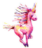Watercolor pink unicorn  illustration Royalty Free Stock Photography
