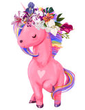 Watercolor pink unicorn illustration Royalty Free Stock Photo