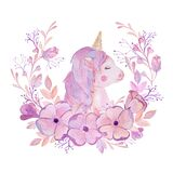 Watercolor pink unicorn in a wreath