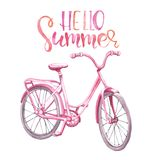Watercolor pink vintage bicycle illustration. hand drawn beach cruiser, isolated on white background. Summer bike ride stock illustration
