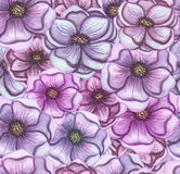 Watercolor Pink And Violet Flowers Seamless Pattern. Seamless Pattern of Watercolor Pink And Violet Flowers Stock Photography