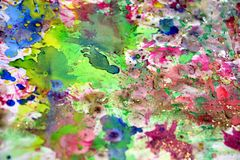Watercolor pink vivd waxy splashes, abstract creative background. Orange blue pink colorful pastel dark watercolor waxy splashes design, blurred geometries on Stock Photography