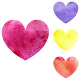 Watercolor pink yellow orange violet heart set isolated vector Stock Photos