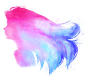 Watercolor pinkish woman digital illustration. Stock Photography
