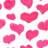 Watercolor pinky hearts Stock Image